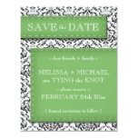 "Green Stitched Damask Save the Date Announcements 4.25"" X 5.5"" Invitation Card"