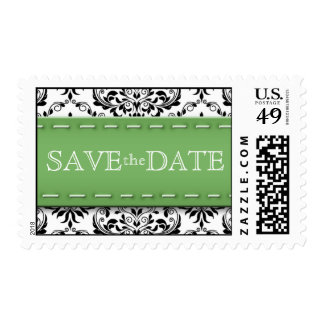 Green Stitched Damask Save the Date Postage Stamps