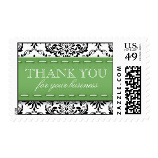 Green Stitched Damask, Thank You for Your Business Postage Stamps