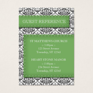 Green Stitched Damask Wedding Guest Reference Business Card