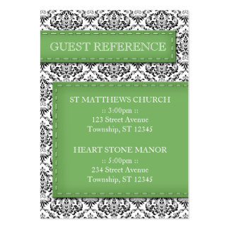 Green Stitched Damask Wedding Guest Reference Large Business Card