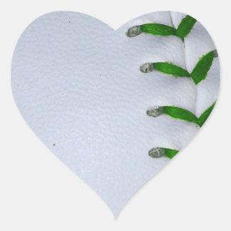 Green Stitches Baseball / Softball Heart Sticker