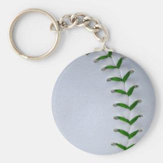 Green Stitches Baseball / Softball Basic Round Button Keychain