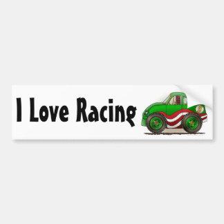Green Stock Car I Love Racing Bumper Sticker