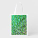 Green stock market, circles on green traces, white grocery bag