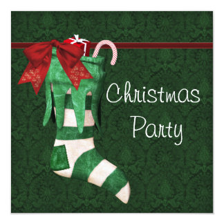 Green Stocking Green Damask Christmas Party Invita Card