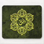 Green Stone Floral Om Mouse Pad