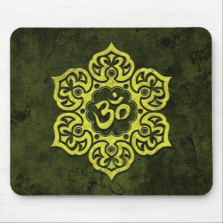 Green Stone Floral Om Mouse Pads