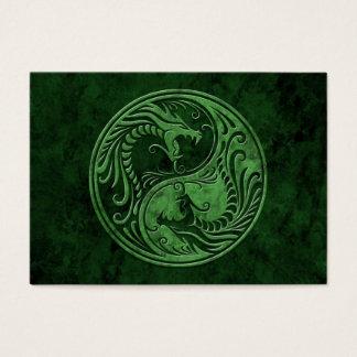 Green Stone Yin Yang Dragons Business Card
