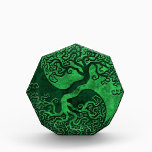 """Green Stone Yin Yang Tree Acrylic Award<br><div class=""""desc"""">This stylized green yin yang features a twisted tree growing from the center of the design. The intricate branches that extend into the top of the pattern are a mirror image of the roots that hang below. Rough stone textures complete this stunning design that is a beautiful representation of the...</div>"""