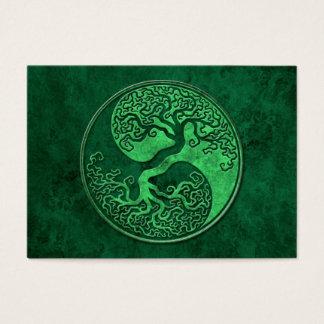 Green Stone Yin Yang Tree Business Card