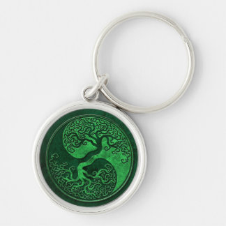 Green Stone Yin Yang Tree Silver-Colored Round Keychain