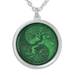 Green Stone Yin Yang Tree Pendant