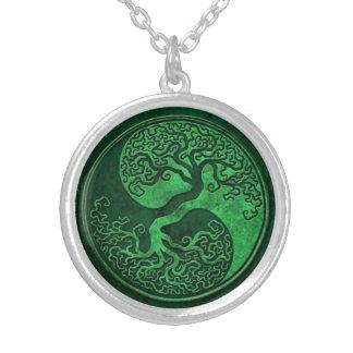 Green Stone Yin Yang Tree Round Pendant Necklace