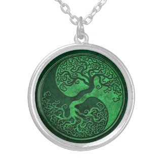 Green Stone Yin Yang Tree Silver Plated Necklace