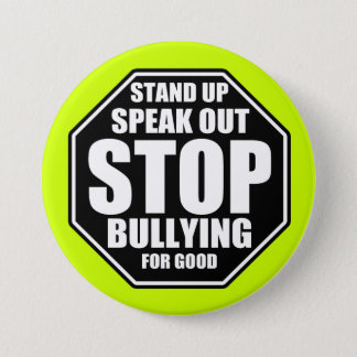 Green Stop Bullying Pinback Button