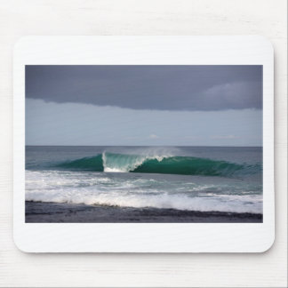Green stormy ocean surfing wave mouse pad