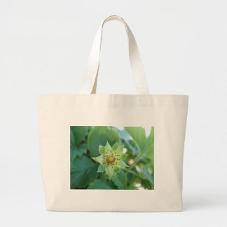 Green Strawberry Leaves Canvas Bag