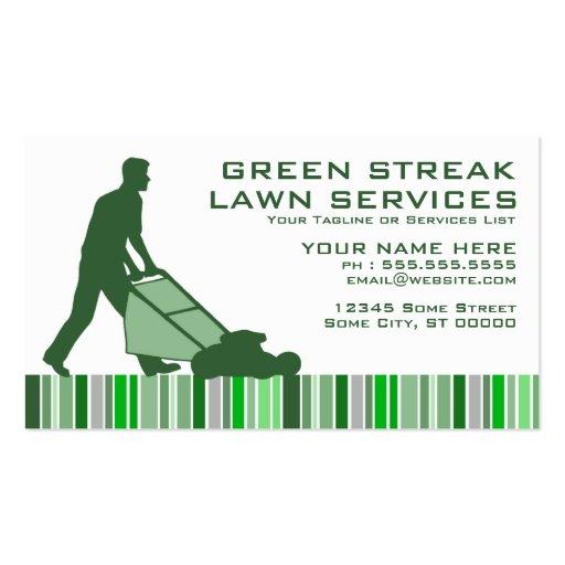 Green streak lawn services business card zazzle