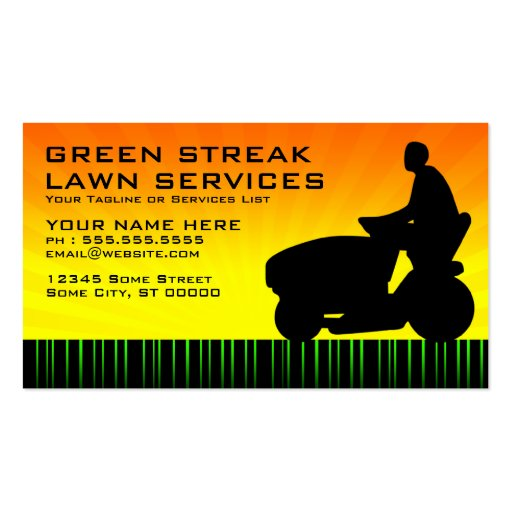 green streak lawn services business card templates