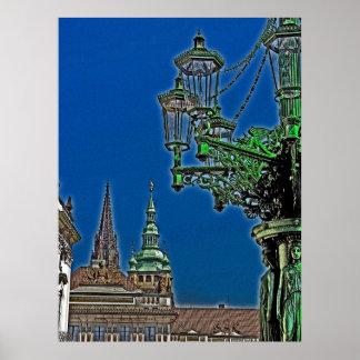 Green Streetlamp Near Royal Palace, Prague(1) Poster