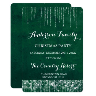 Green String Light Annual Christmas Party Card