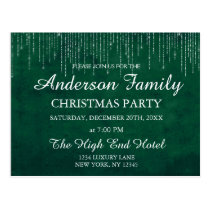 Green String Light Annual Christmas Party Postcard