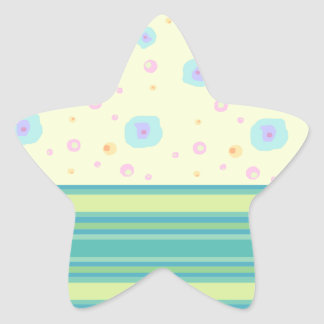 Green Stripe and Splashes Star Stickers