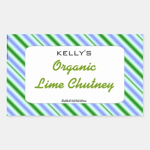 Green stripe apple candy label rectangular sticker