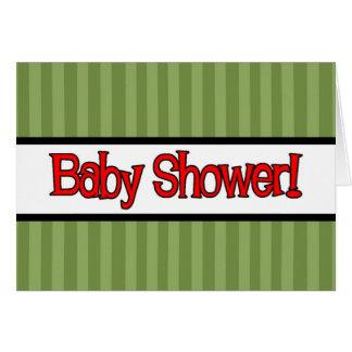 Green Stripe Baby Shower Invitations
