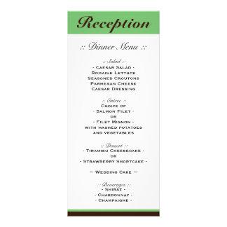 Green Stripe Chocolate Brown Reception Menu