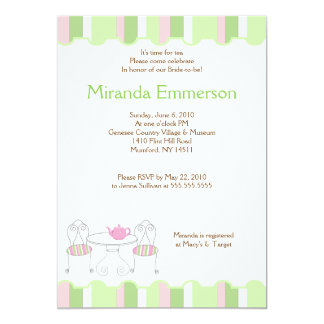 Green Stripe Tea Party Teapot Bridal Shower Card