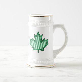 Green Striped  Applique Stitched Maple Leaf Beer Stein