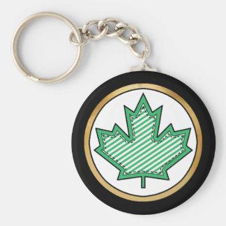 Green Striped  Applique Stitched Maple Leaf Keychain