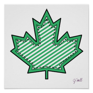 Green Striped  Applique Stitched Maple Leaf Posters