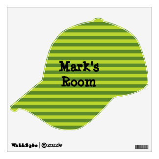 Green Striped Baseball Cap Wall Sticker