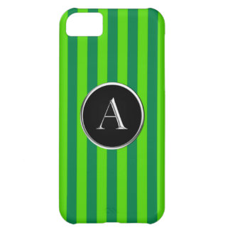 Green Striped Black/Silver Caslon A Monogram iPhone 5C Cover