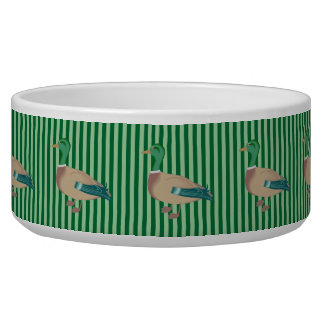 Green Striped Duck Dog Bowl