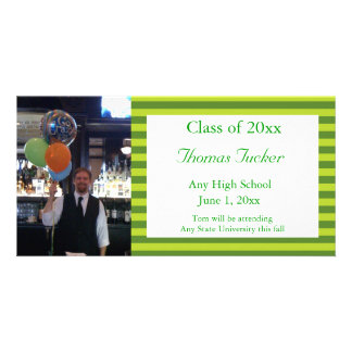 Green Striped Graduation Photo Card