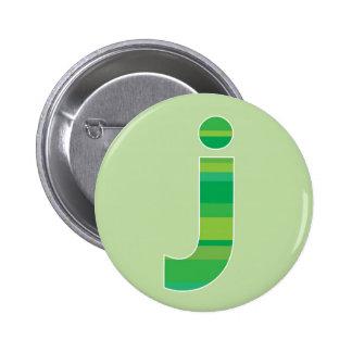Green Striped Monogram - Letter J 2 Inch Round Button