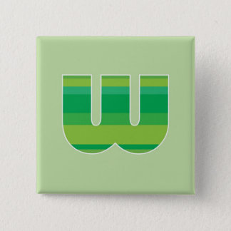 Green Striped Monogram - Letter W Pinback Button