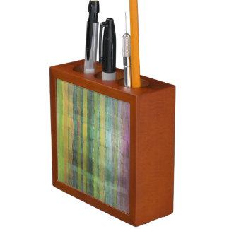 Green Striped Pattern Art Pencil/Pen Holder