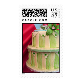 Green striped postage