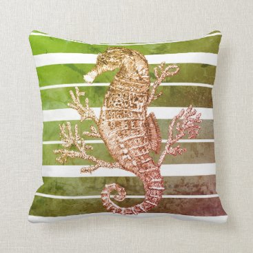 Beach Themed Green Striped Seahorse and Coral Throw Pillow