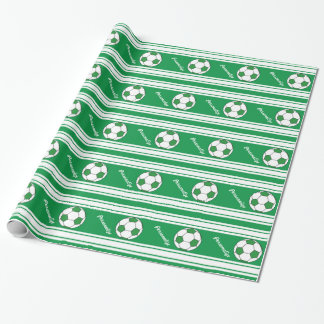Green Striped Soccer Ball Wrapping Paper