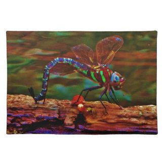Green striped Teal & purple Dragonfly Placemat