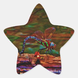 Green striped Teal & purple Dragonfly Star Sticker
