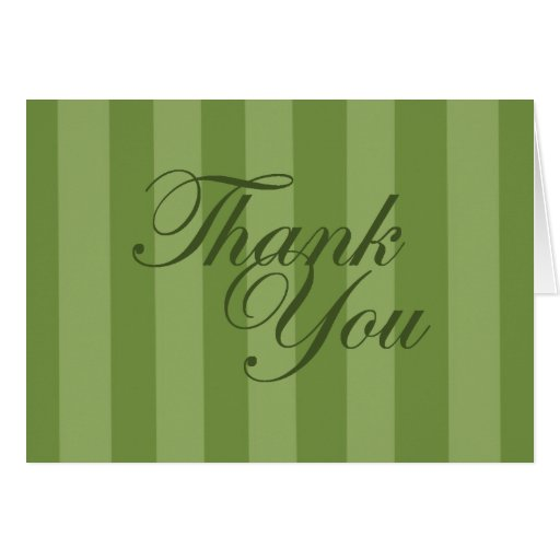 Green Striped Thank You Card