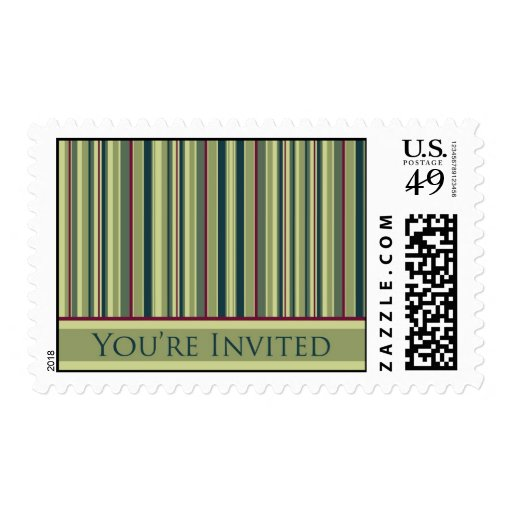 Green Striped You're Invited Postage Stamps