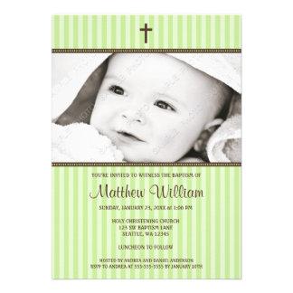 Green Stripes and Brown Cross Photo Baptism Custom Invite